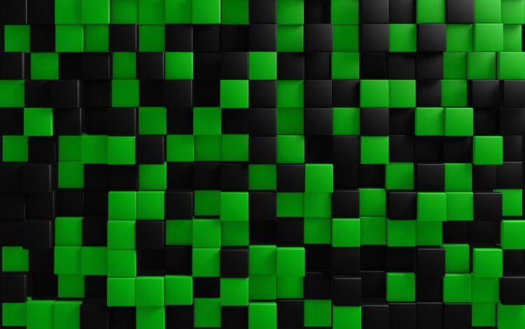 зелёный, черный, графика, кубики, квадраты, кубы, плитка, 3д, green, black, graphics, cubes, squares, cuba, tile, 3d