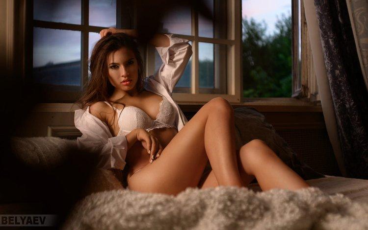 глаза, девушка, взгляд, губы, мех, рубашка, eyes, girl, look, lips, fur, shirt