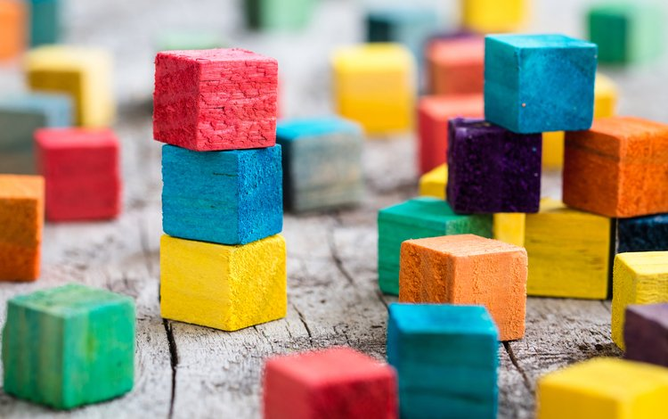 разноцветные, цвет, кубики, building blocks, colorful, color, cubes