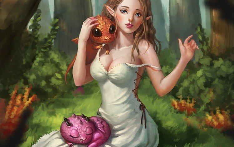 art, trees, forest, girl, dress, look, fantasy, ears, elf, creatures