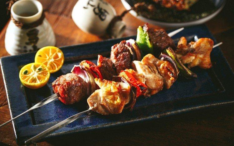 лимон, овощи, мясо, шашлыки, lemon, vegetables, meat, kebabs