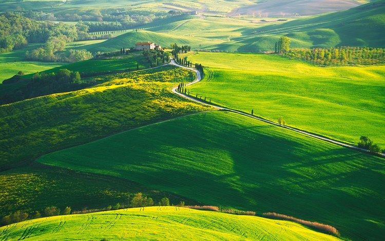 холмы, природа, пейзаж, италия, ферма, тоскана, hills, nature, landscape, italy, farm, tuscany