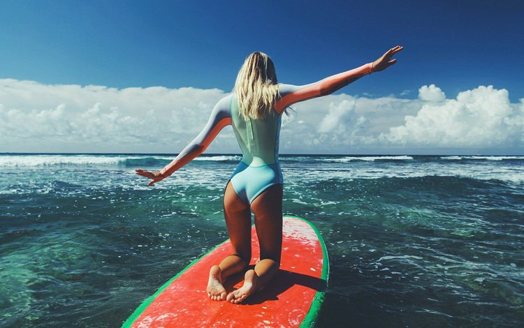 the sky, clouds, girl, sea, blonde, model, surfing