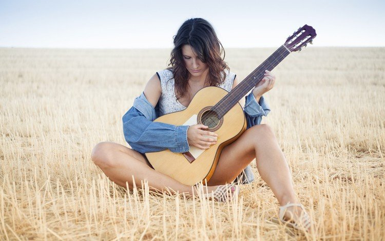 nature, girl, field, guitar, music, model, sitting