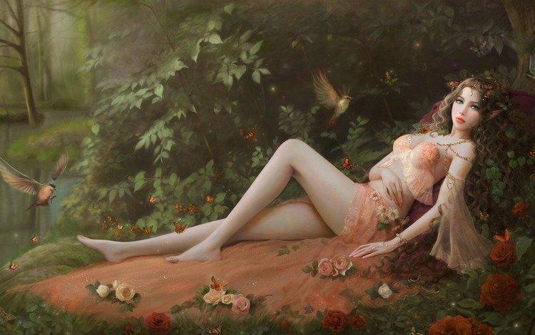 art, girl, fantasy, fairy, elf, ruoxing zhang