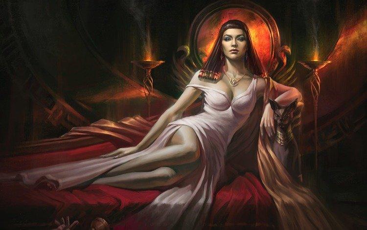 art, girl, cat, fantasy, priestess, bed, max yenin, cleopatra
