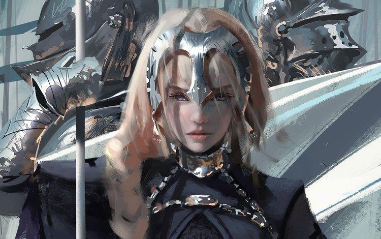 art, girl, warrior, fantasy, the game, armor, spear, the luminos