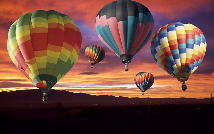 the sky, nature, sunset, balloons