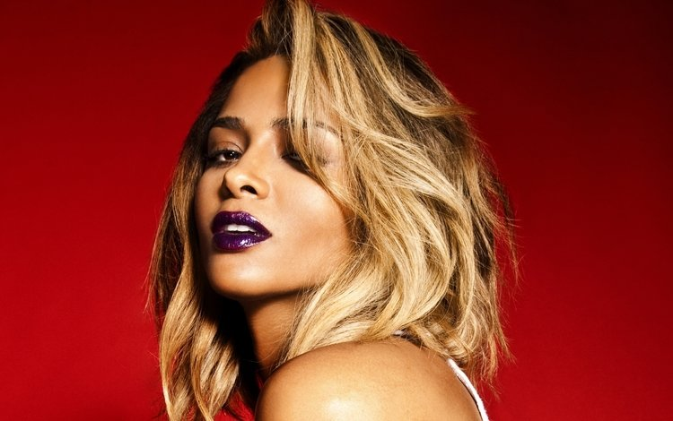 girl, look, hair, lips, face, singer, makeup, red background, ciara
