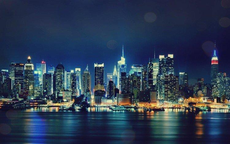 небоскребы, ночной город, сша, нью-йорк, манхеттен, skyscrapers, night city, usa, new york, manhattan