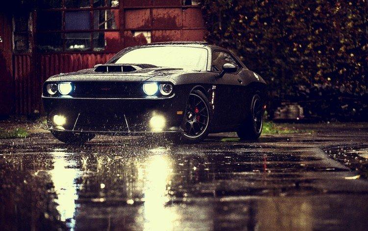 ночь, dodge challenger, средство передвижения, машина, колеса, дождь, темнота, лужа, автомобиль, спортивная машина, night, vehicle, machine, wheel, rain, darkness, puddle, car, sports car