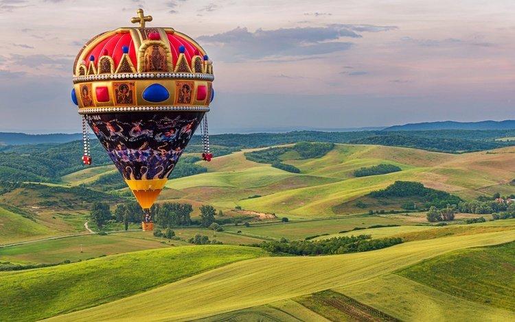 nature, flight, height, balloon, landscape