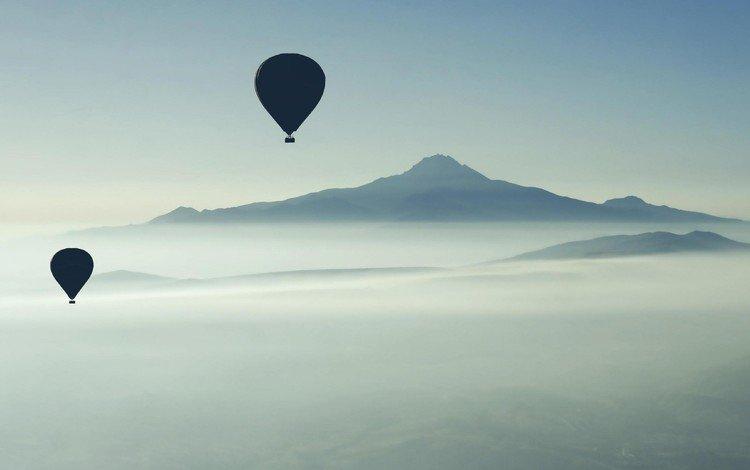 the sky, mountains, balloons, extreme