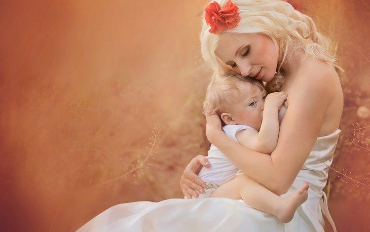 girl, blonde, love, child, happiness, baby, mother, jana eviakova