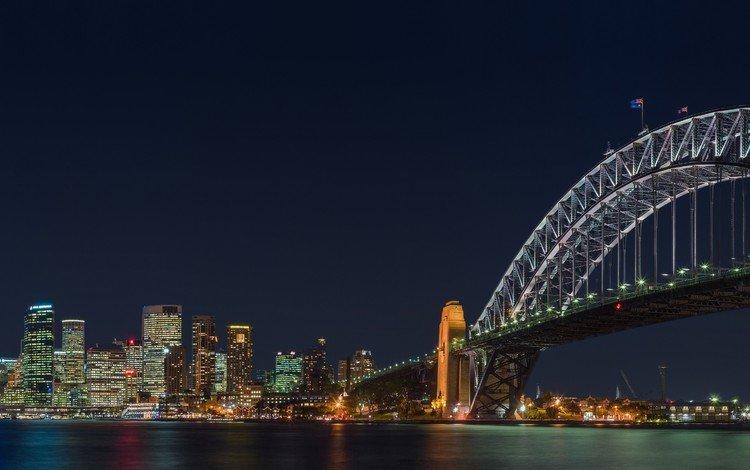 ночь, мост, город, сидней, австралия, городской пейзаж, харбор-бридж, night, bridge, the city, sydney, australia, the urban landscape, harbour bridge