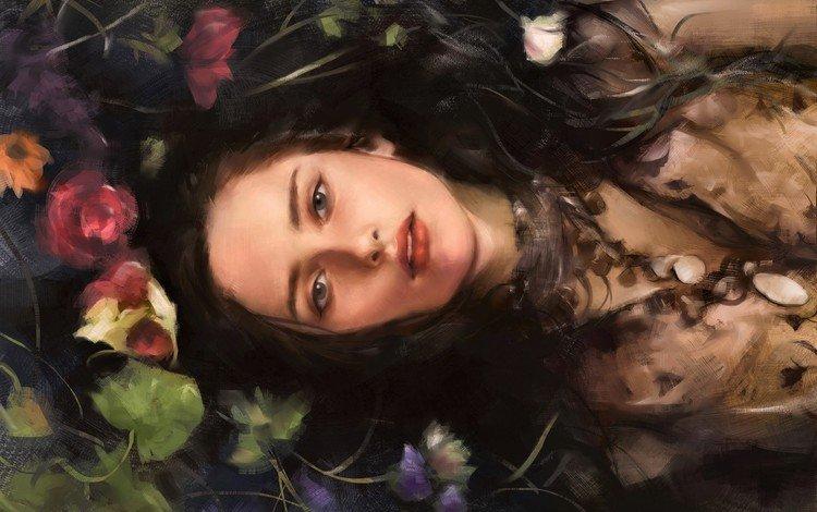 цветы, арт, девушка, взгляд, волосы, лицо, лежа, flowers, art, girl, look, hair, face, lying