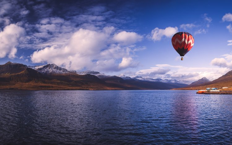 the sky, water, lake, mountains, hills, nature, landscape, sea, horizon, iceland, balloon, the fjord, reydarfjordur