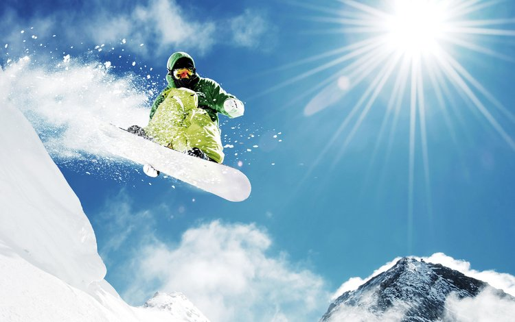 mountains, snow, nature, winter, rays, snowboard, sport