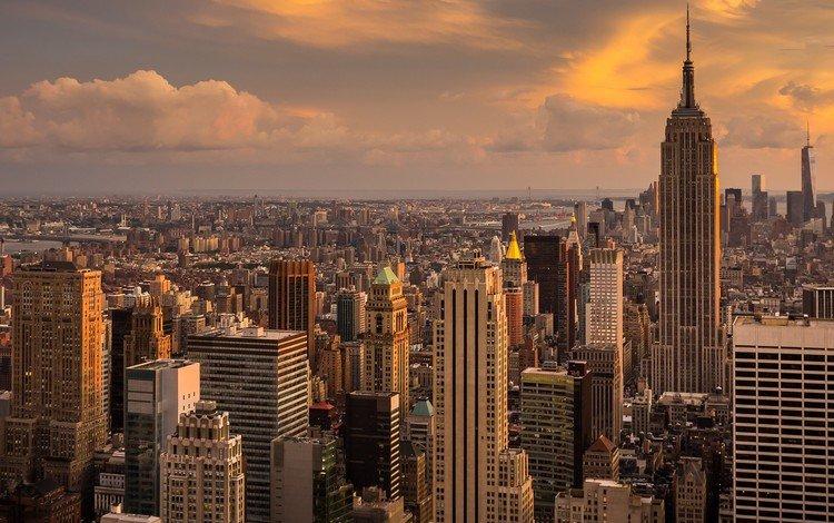 небоскребы, мегаполис, сша, нью-йорк, манхэттен, empire state, skyscrapers, megapolis, usa, new york, manhattan