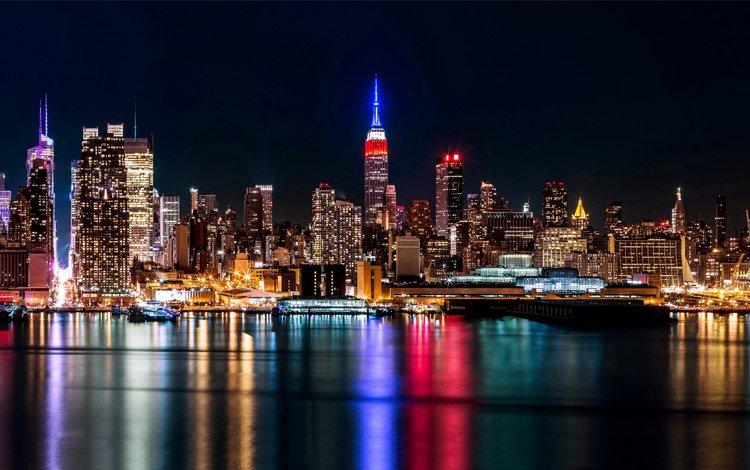 ночь, огни, город, небоскребы, сша, нью-йорк, манхэттен, night, lights, the city, skyscrapers, usa, new york, manhattan