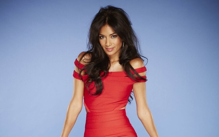 girl, brunette, look, hair, face, singer, red dress, nicole scherzinger