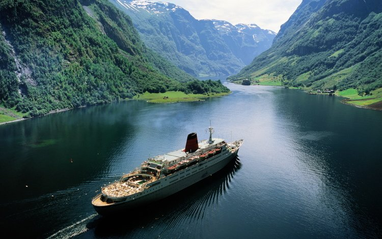 mountains, nature, ship, norway, the fjord