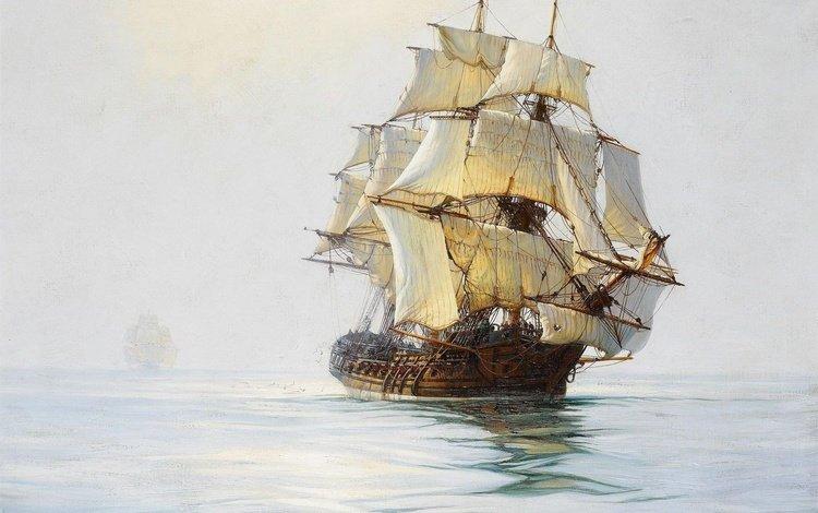 sea, ship, sailboat, white, sails, frigate, mast