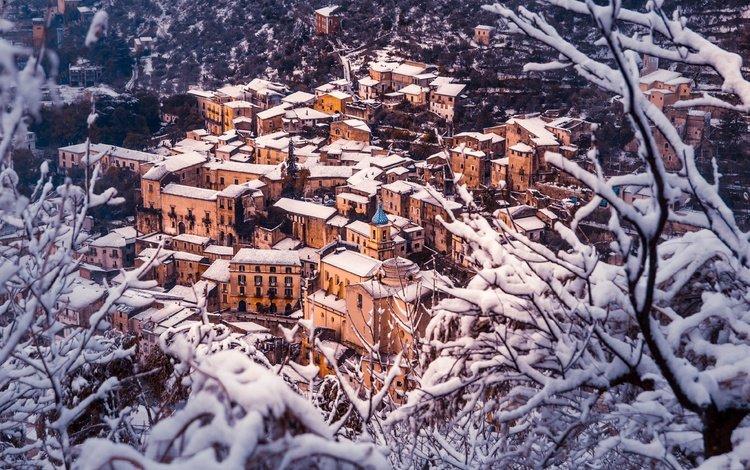 снег, пьедимонте-матезе, зима, город, дома, италия, здания, крыши, казерта, snow, piedimonte matese, winter, the city, home, italy, building, roof, caserta