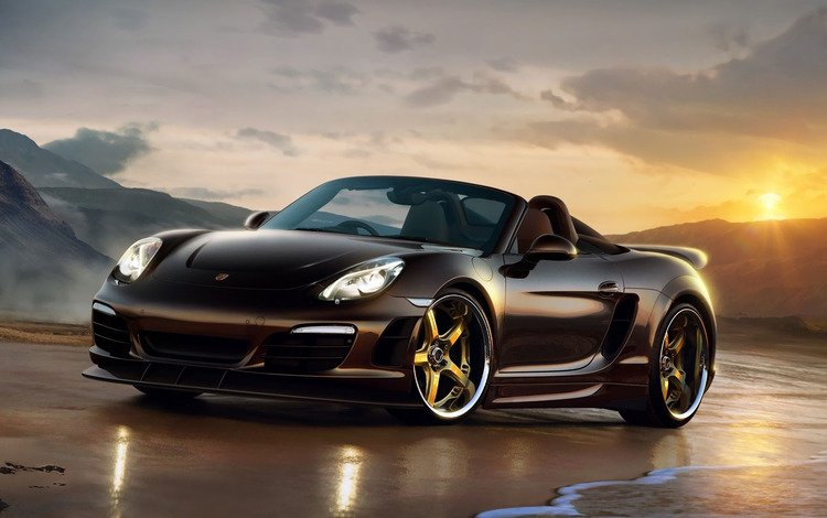 black, porsche, side view, boxster