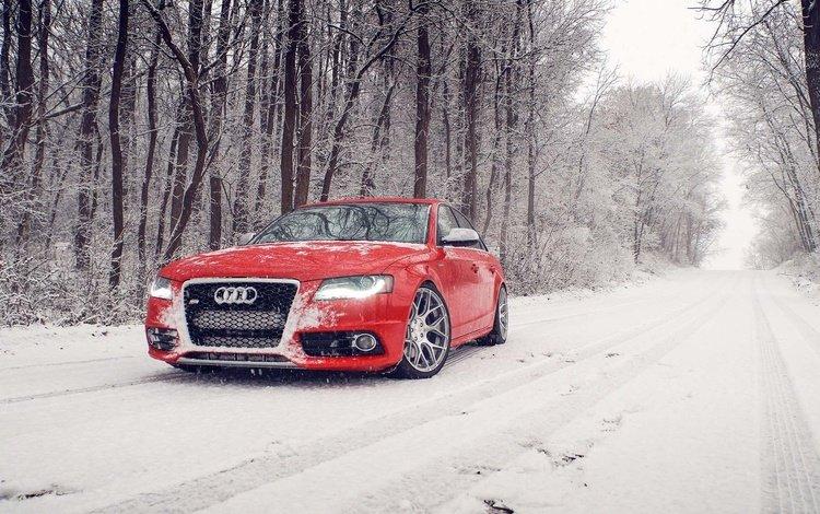 snow, winter, red, audi, s4