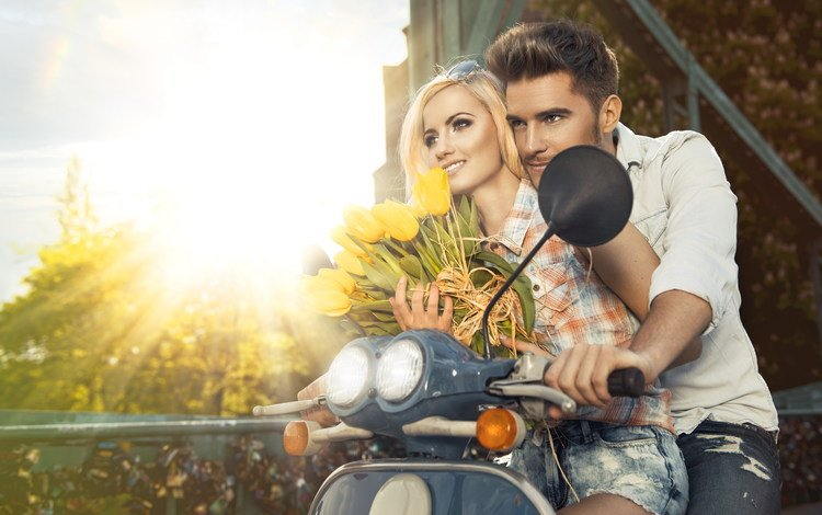 flowers, girl, guy, romance, pair, lovers