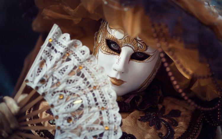 mask, costume, fan, carnival