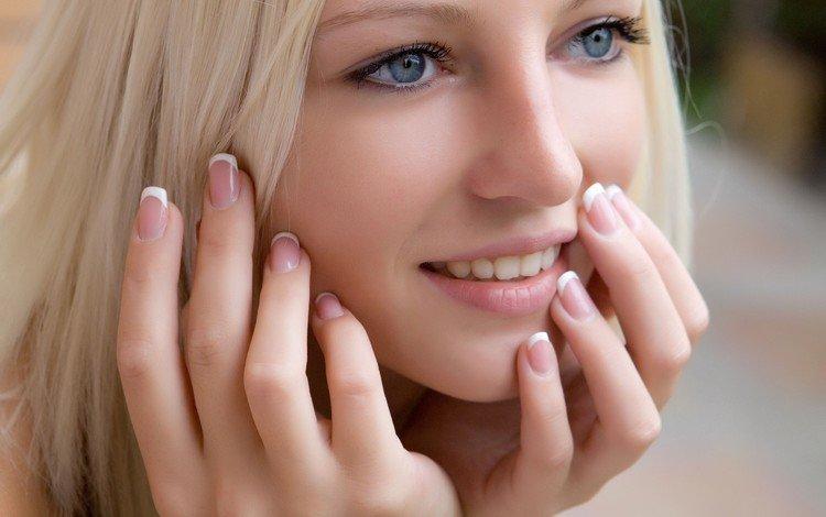 девушка, голубые глаза, блондинка, alysha a, улыбка, портрет, взгляд, волосы, губы, лицо, girl, blue eyes, blonde, smile, portrait, look, hair, lips, face