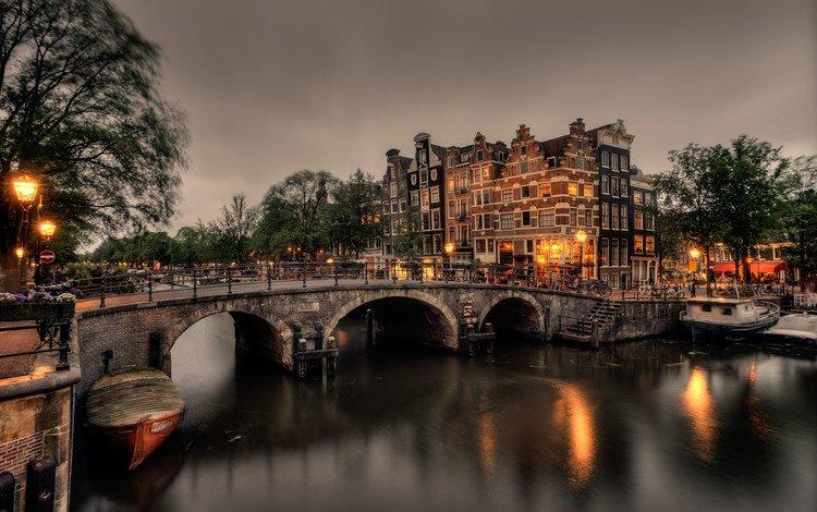 вечер, город, канал, здания, нидерланды, амстердам, the evening, the city, channel, building, netherlands, amsterdam
