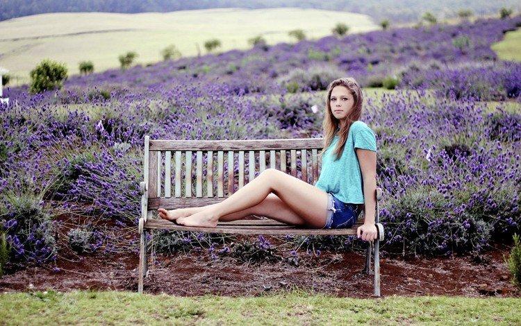 цветы, anneka j, лаванда, модель, джинсы, ноги, скамья, шорты, сидя, flowers, lavender, model, jeans, feet, bench, shorts, sitting