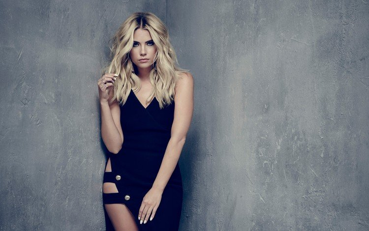 платье, блондинка, взгляд, лицо, актриса, черное платье, знаменитость, эшли бенсон, dress, blonde, look, face, actress, black dress, celebrity, ashley benson