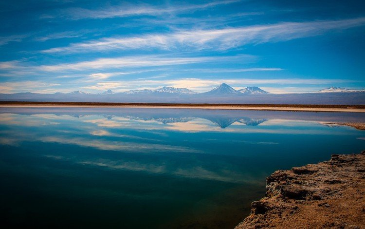 облака, вода, озеро, природа, отражения, чили, пустыня атакама, clouds, water, lake, nature, reflection, chile, the atacama desert