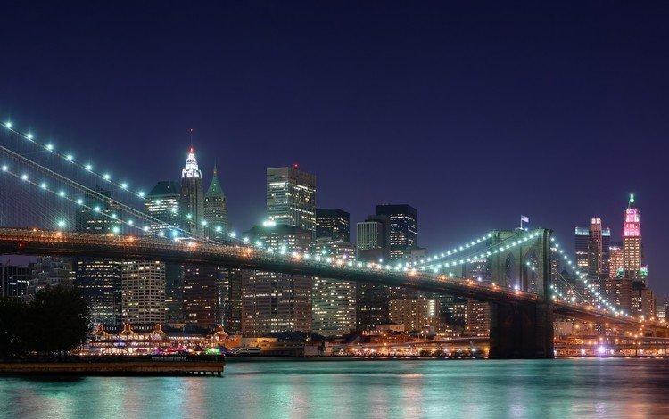 ночь, мост, небоскребы, сша, нью-йорк, бруклинский мост, night, bridge, skyscrapers, usa, new york, brooklyn bridge