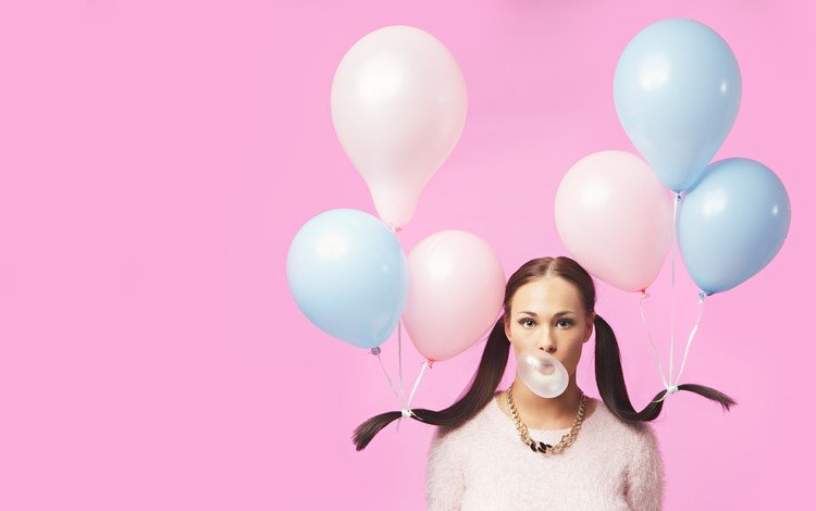 девушка, жевательная резинка, брюнетка, взгляд, волосы, лицо, воздушные шарики, жвачка, хвостики, girl, chewing gum, brunette, look, hair, face, balloons, gum, tails