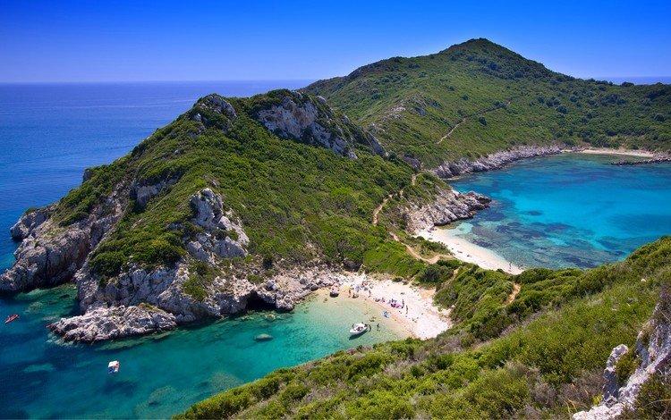 горы, остров, скалы, греция, природа, мыс ариллу, море, керкира, песок, корфу, пляж, лето, лодка, mountains, island, rocks, greece, nature, cape arilla, sea, corfu, sand, beach, summer, boat
