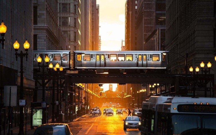 свет, здания, фонари, эстакада, вечер, вагоны, город, чикаго, улица, сша, метро, машины, light, building, lights, overpass, the evening, cars, the city, chicago, street, usa, metro, machine