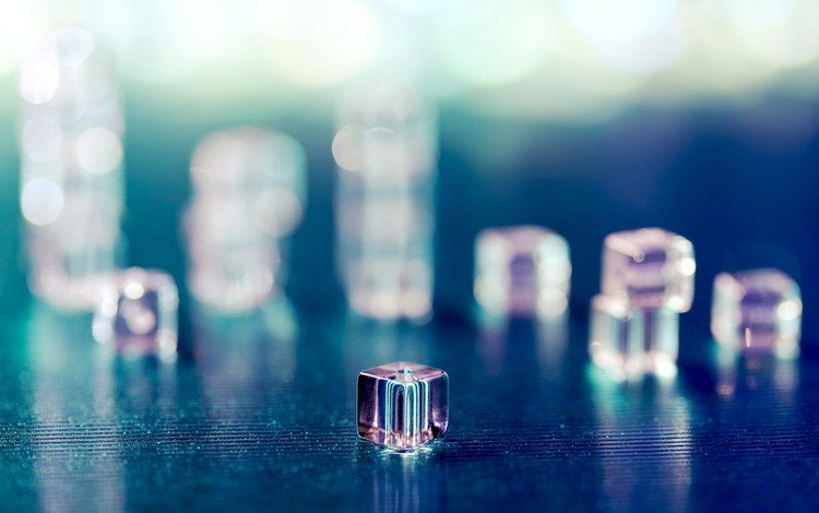 macro, background, ice, cubes, cube, faces, bokeh