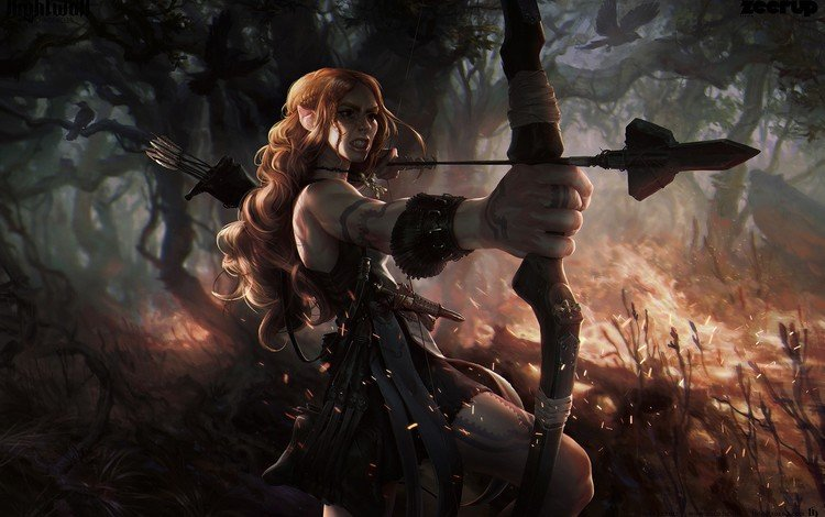 art, fantasy, bow, elf, arrows, archer