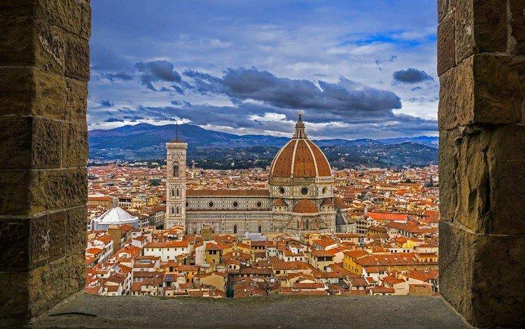 панорама, дома, италия, флоренция, купол, палаццо веккьо, собор санта-мария-дель-фьоре, panorama, home, italy, florence, the dome, palazzo vecchio, the cathedral of santa maria del fiore