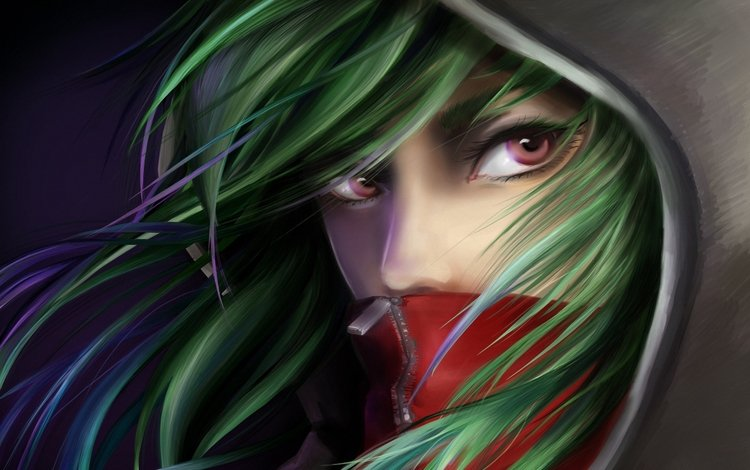art, girl, hood, green hair, kagerou project, feyrise, kido tsubomi
