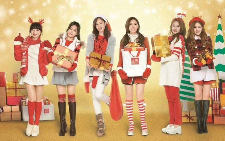 дед мороз, hyomin, костюм, qri, одежда, рождество, k-поп, t ara, eunjung, jiyeon, борам, сойон, solon, santa claus, costume, clothing, christmas, k-pop, boram