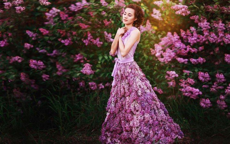 цветы, девушка, платье, весна, сирень, закрытые глаза, lilac dreams, flowers, girl, dress, spring, lilac, closed eyes