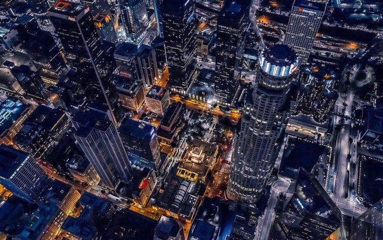 ночь, город, архитектура, здания, калифорния, лос-анджелес, городской пейзаж, night, the city, architecture, building, ca, los angeles, the urban landscape