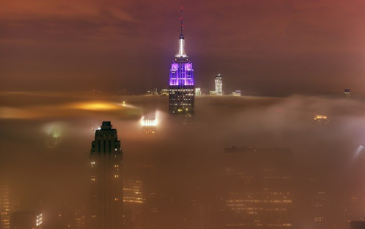 утро, туман, город, башня, нью-йорк, небоскрёб, нью - йорк, empire state, morning, fog, the city, tower, new york, skyscraper