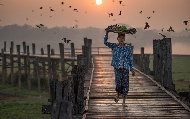 sunset, pierce, pier, birds, basket, woman, asian, myanmar, burma
